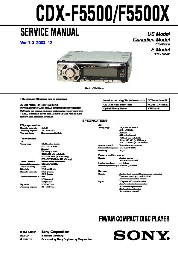 Sony Cdx-f5500  Cdx-f5500x  Cxs-f550gf Service Manual