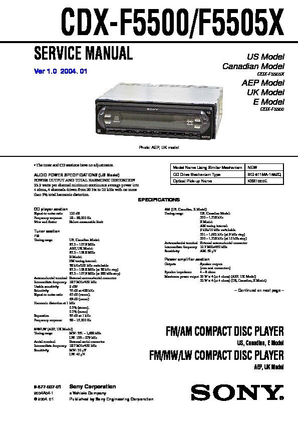 sony cdxf5500 cdxf5500x cxsf550gf service manual  free