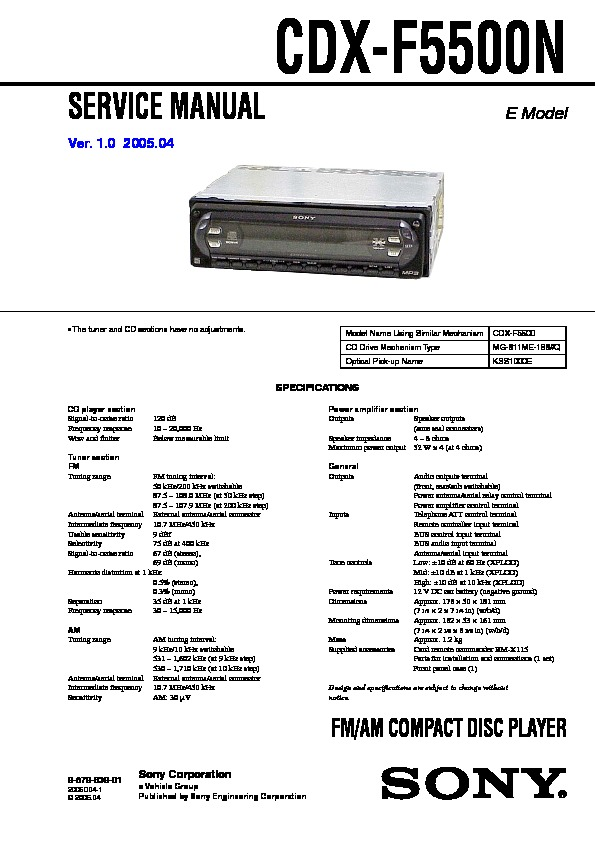 sony cdx f5500n service manual free download rh servicemanuals us