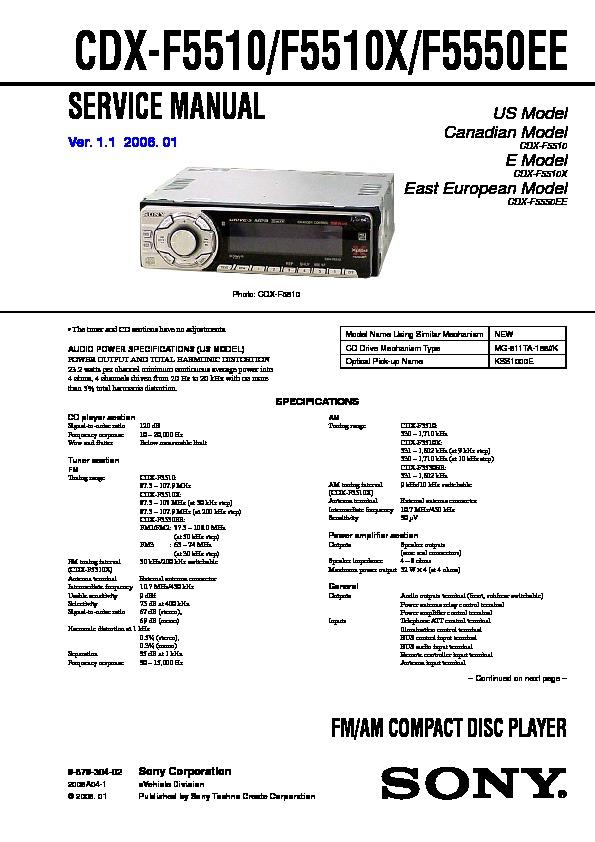 sony cdx f5510 cdx f5510x cdx f5550ee service manual free download rh servicemanuals us sony cdx-f5510 manual CDX- GT57UP