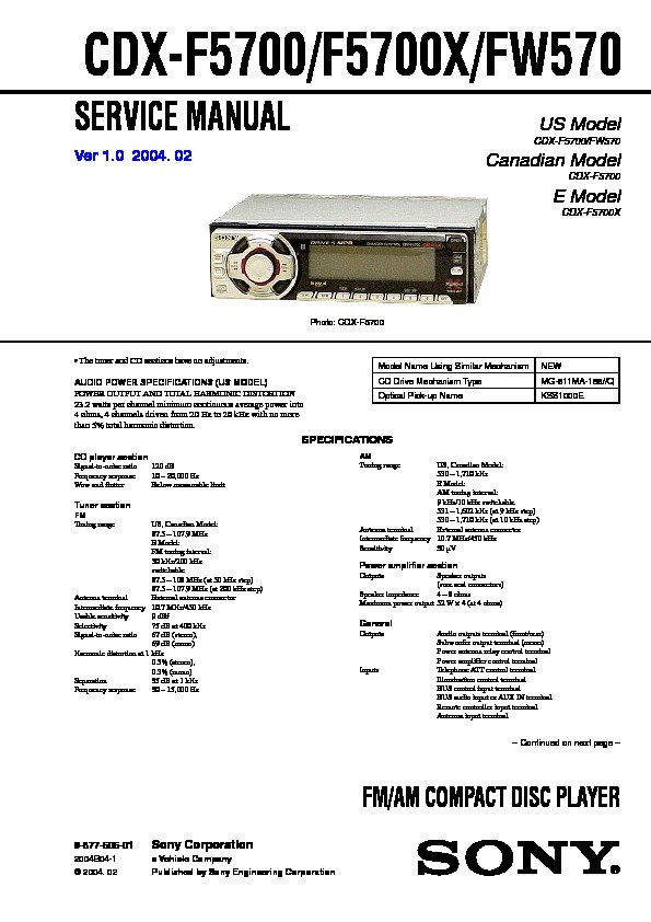sony cdx f5700  cdx f5700x  cdx fw570 service manual free download Sony Radios Stereo Sony User Manual Guide