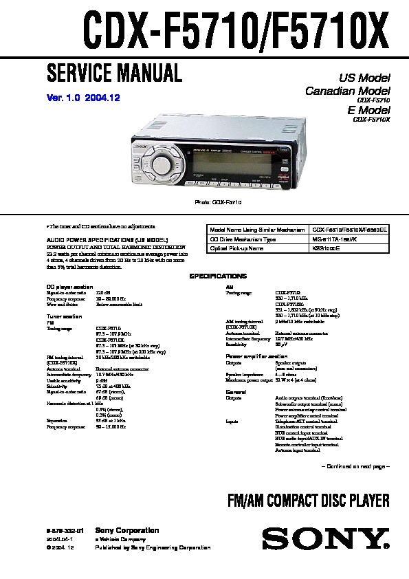 sony cdx-f5710, cdx-f5710x service manual