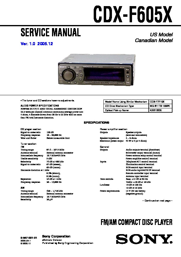 sony cdx f605x service manual free download rh servicemanuals us CDX- GT57UP CDX- GT57UP