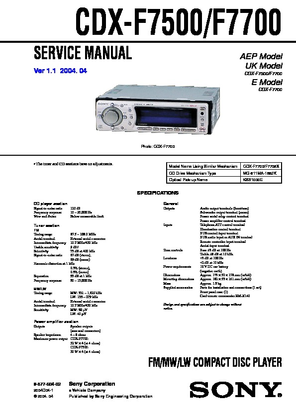 987760402 sony cdx f7700, cdx f7705x service manual free download sony cdx-f5500 wiring diagram at mifinder.co
