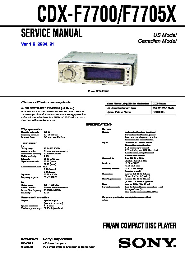 987750801 sony cdx f7700, cdx f7705x service manual free download sony cdx f5710 wiring diagram at letsshop.co