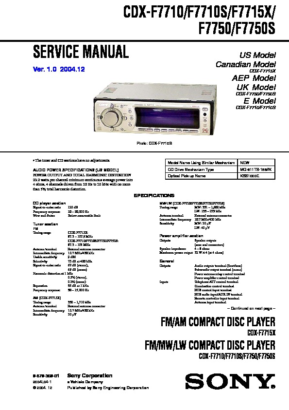 sony cdx f7710  cdx f7710s  cdx f7715x  cdx f7750  cdx f7750s service manual free download Sony Stereo Systems Sony User Manual Guide