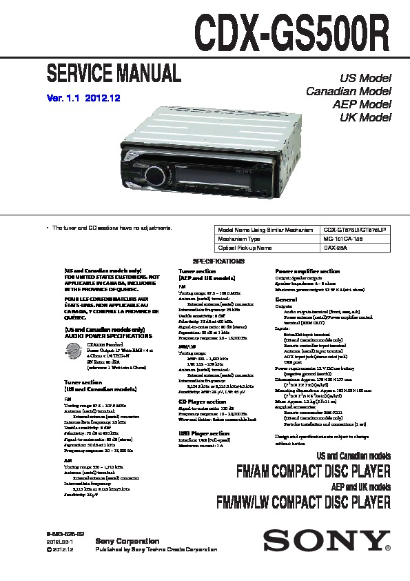 sony cdx gs500r service manual free download Sony Car CD Player Wiring-Diagram at Sony Cdx Gs500r Wiring Diagram