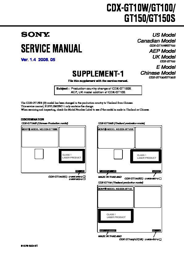 sony cdx gt100  cdx gt10w  cdx gt150  cdx gt150s service manual free download Sony Cdx Gt260mp Sony Car CD Player Models