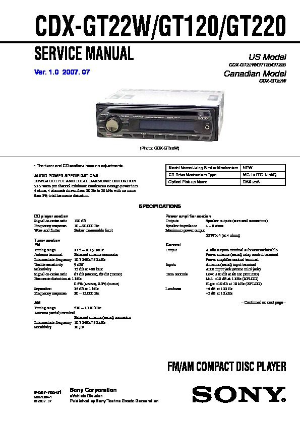 sony cdx gt120 cdx gt220 cdx gt22w service manual free download rh servicemanuals us Sony Car CD Player Wiring-Diagram Sony Xplod 52Wx4 Wiring-Diagram