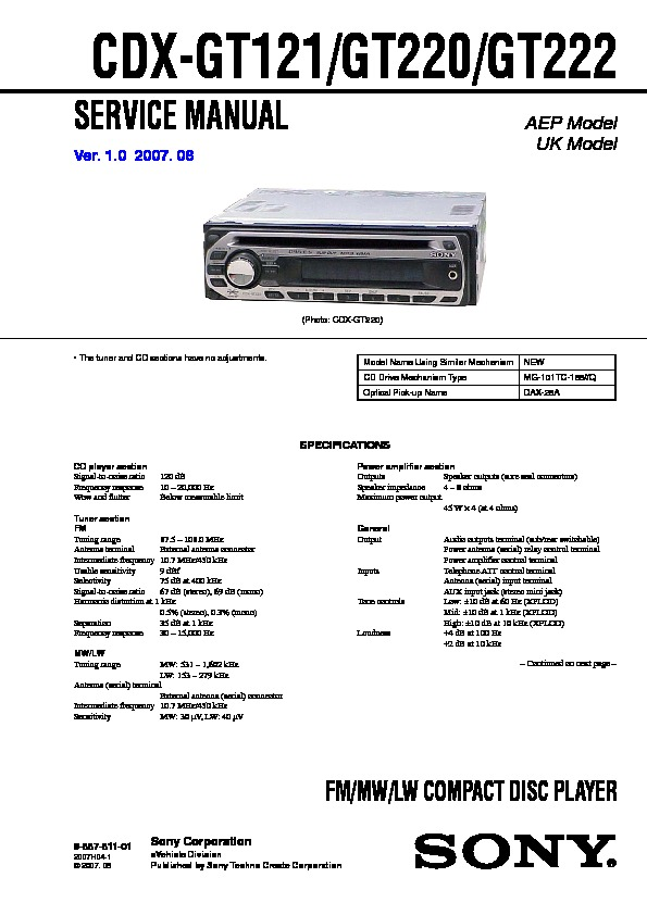 988781101 sony cdx gt120, cdx gt220, cdx gt22w service manual free download sony cdx gt120 wiring diagram at mifinder.co