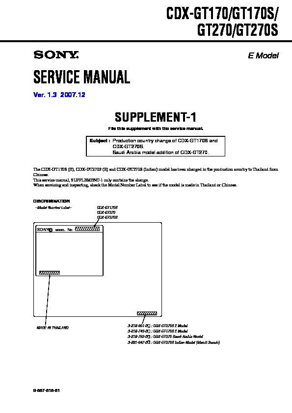 Sony Cdxgt170 Cdxgt170s Cdxgt270 Cdxgt270s: Sony Cdx Gt210 Wiring Diagram At Shintaries.co