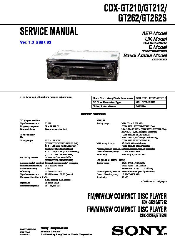 Sony CDX-GT210, CDX-GT212, CDX-GT262, CDX-GT262S, CXS-GT2113 Service ...