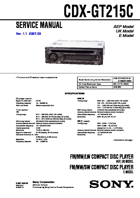 sony cdx gt215c service manual free download Sony Stereo Systems Sony Stereo Systems