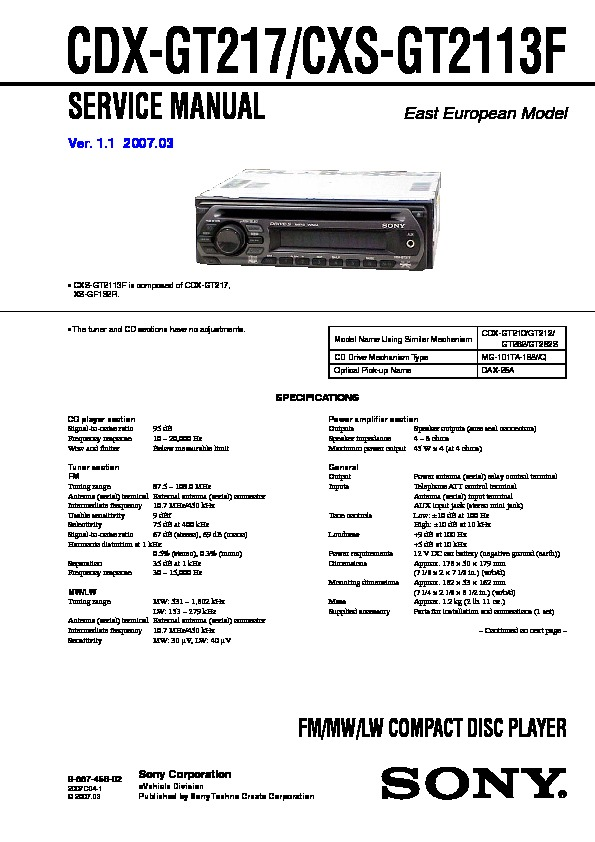 988745602 sony cdx gt210, cdx gt21w, cdx gt260, cdx gt260s, cxs gt2113 sony cdx-gt21w wiring diagram at nearapp.co