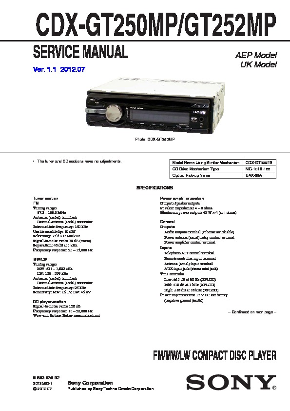 sony cdx gt250mp cdx gt252mp service manual free download rh servicemanuals us Sony CD Player Wiring-Diagram Sony Xplod Wiring Harness Colors