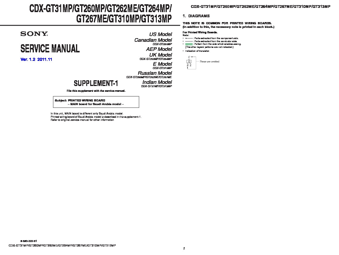 Sony Cdx Gt310 Gt31w Gt360 Gt360s Service Manual Gt360mp Wiring Diagram Gt260mp Gt262me Gt264mp Gt267me