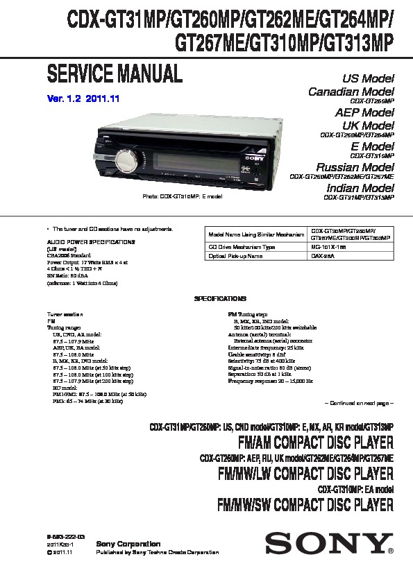 Sony Cdx-gt26 Service Manual