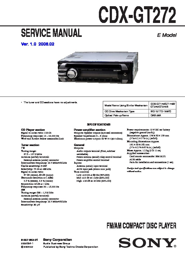 988798301 sony cdx gt17, cdx gt27 service manual free download sony cdx gt350mp wiring diagram at nearapp.co