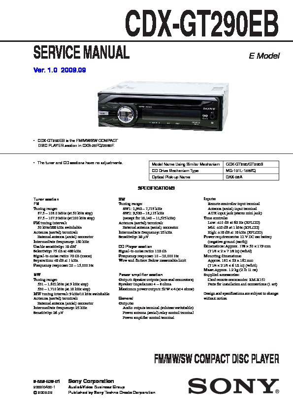 988962901 sony car audio service manuals page 26 sony cdx-gt270mp wiring harness at mr168.co