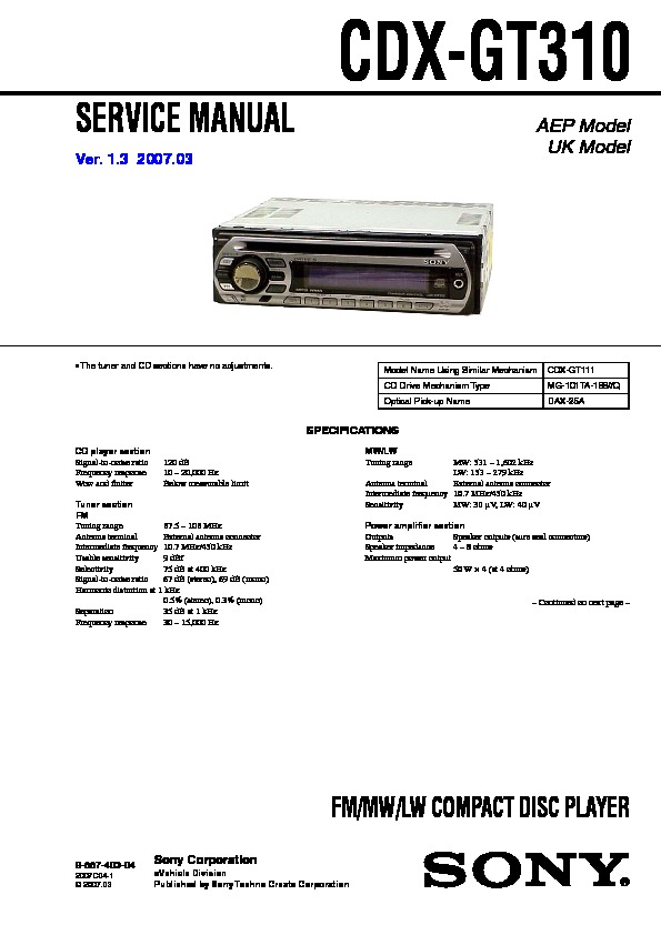 sony cdx gt310 service manual free download rh servicemanuals us Sony Wiring Harness Diagram sony cdx gt210 wiring diagram