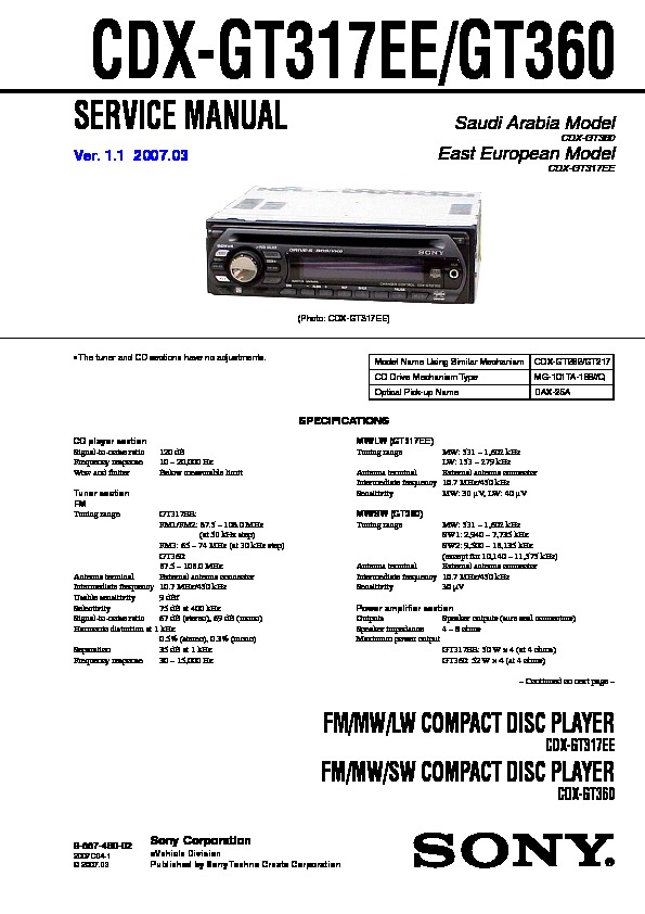 cdx-gt317ee, cdx-gt360 service manual