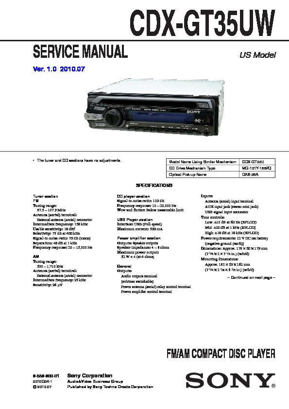 988990001 sony car audio service manuals page 28 sony cdx gt35uw wiring diagram at gsmx.co