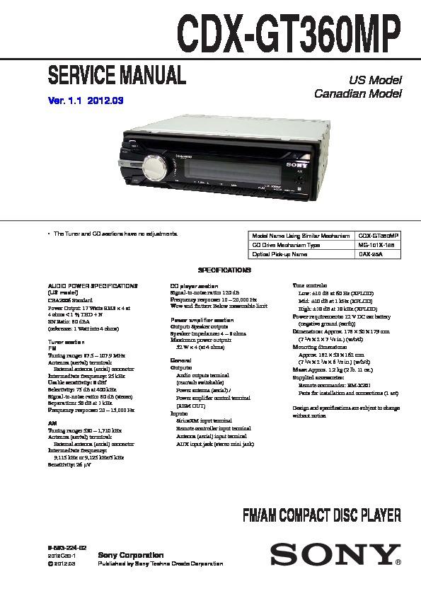 sony cdx gt360mp service manual free download sony in-dash radio cdx gt360mp sony car audio service manual (repair manual)