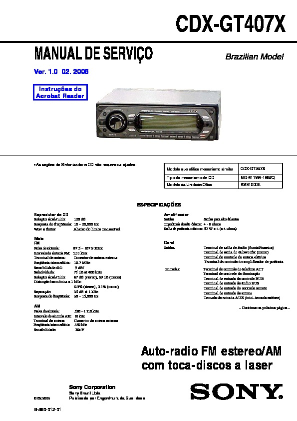 sony car audio service manuals page 28 Sony Cdx Gt35uw Wiring cdx gt407x service manual sony cdx gt35uw wiring diagram