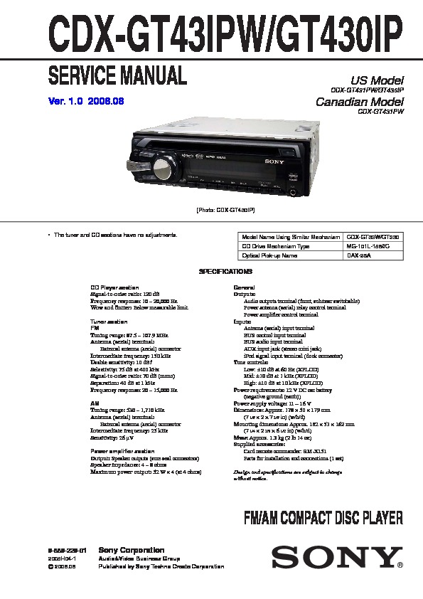 Sony Cdx Gt430ip Wiring Diagram 31 Wiring Diagram Images