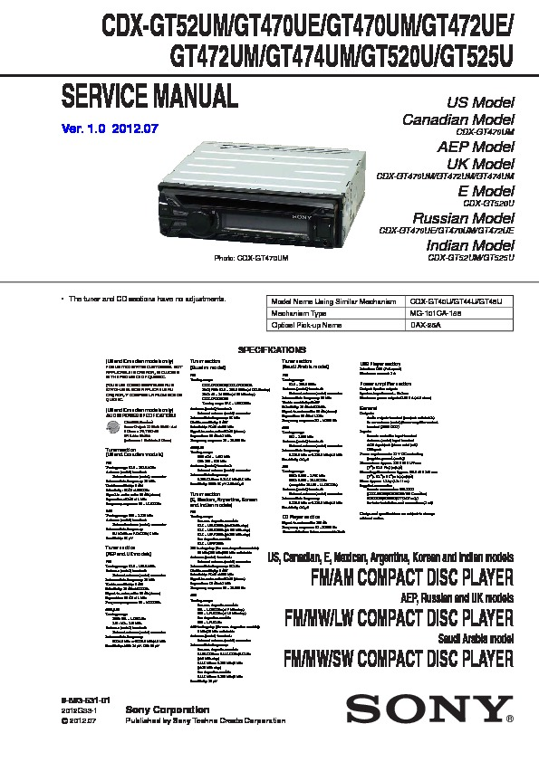 989353101 sony cdx gt520, cdx gt52w service manual free download sony cdx gt540ui wiring diagram at gsmx.co
