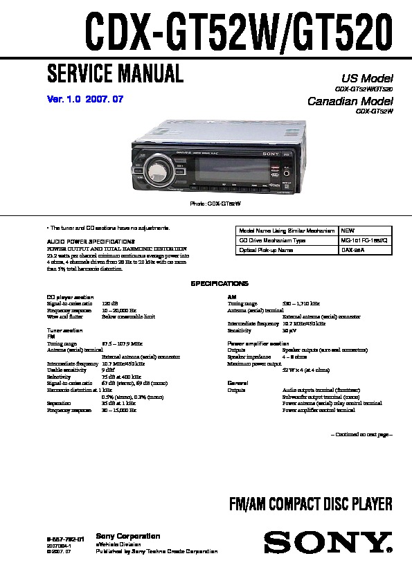 988779201 sony cdx gt520, cdx gt52w service manual free download sony cdx gt520 wiring diagram at arjmand.co