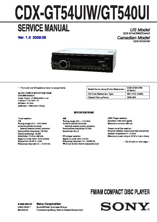 988960301 sony car audio service manuals page 30 sony cdx-gt57upw wiring harness at mifinder.co