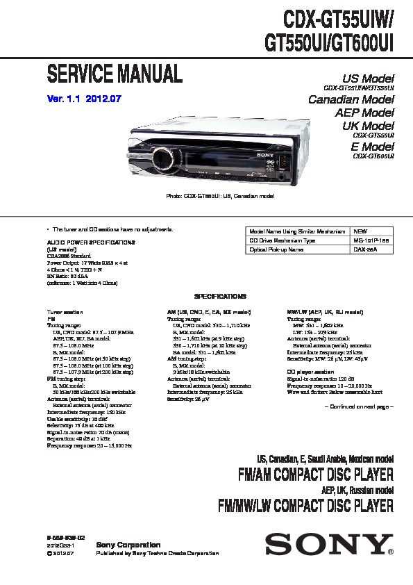 988993902 sony cdx gt500, cdx gt500ee, cdx gt50w, cdx gt550 service manual sony cdx gt640ui wiring diagram at crackthecode.co