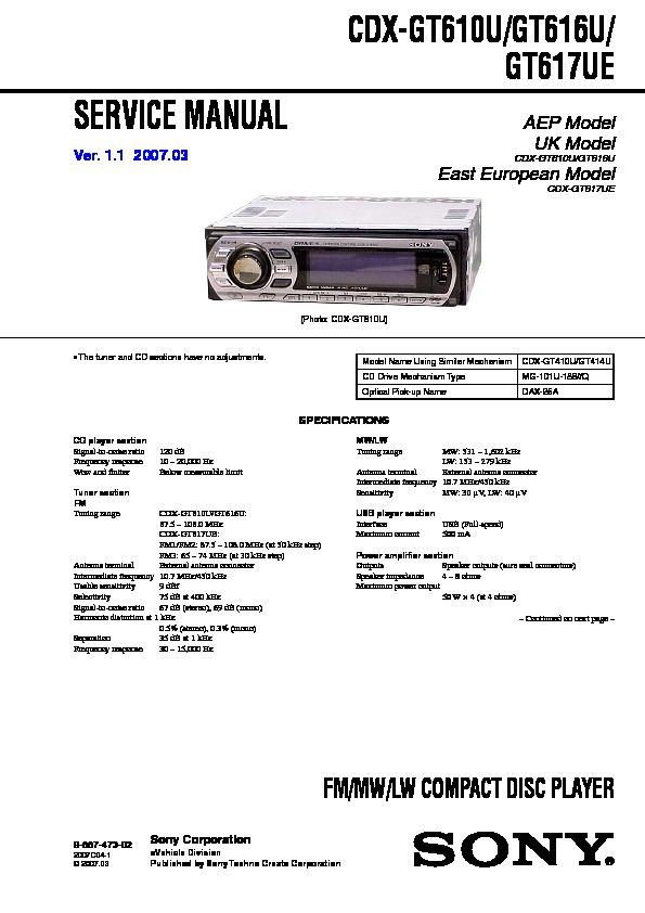 Sony Cdx-gt610u  Cdx-gt660u  Cdx-gt660us Service Manual