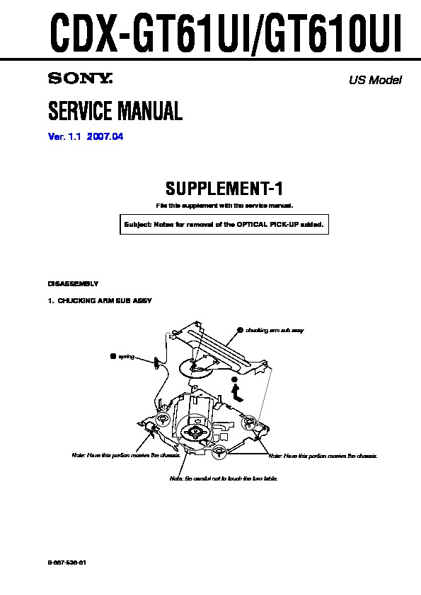 sony cdx gt610ui cdx gt61ui service manual free download rh servicemanuals us sony cdx-gt610u wiring diagram sony cdx-gt610ui wiring diagram