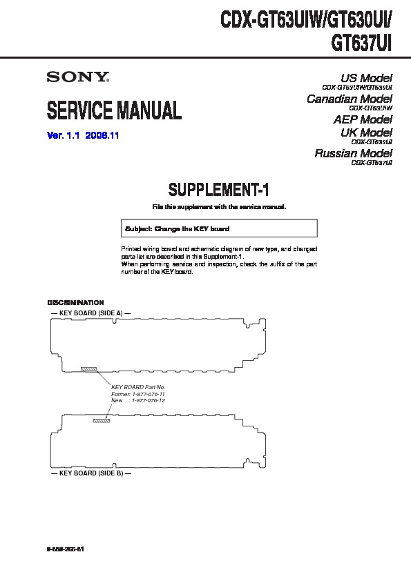 Sony Cdx-gt630ui  Cdx-gt637ui  Cdx-gt63uiw Service Manual