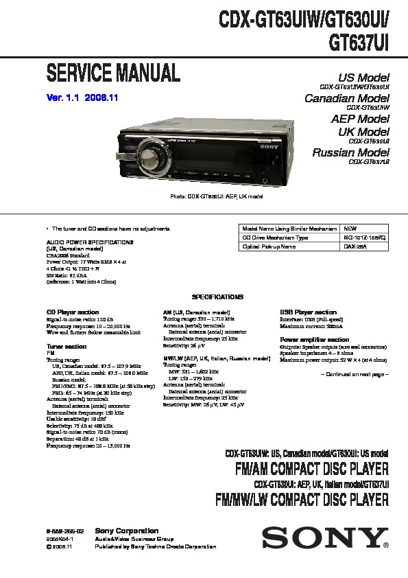 988925502 sony car audio service manuals page 31 sony cdx gt640ui wiring diagram at alyssarenee.co