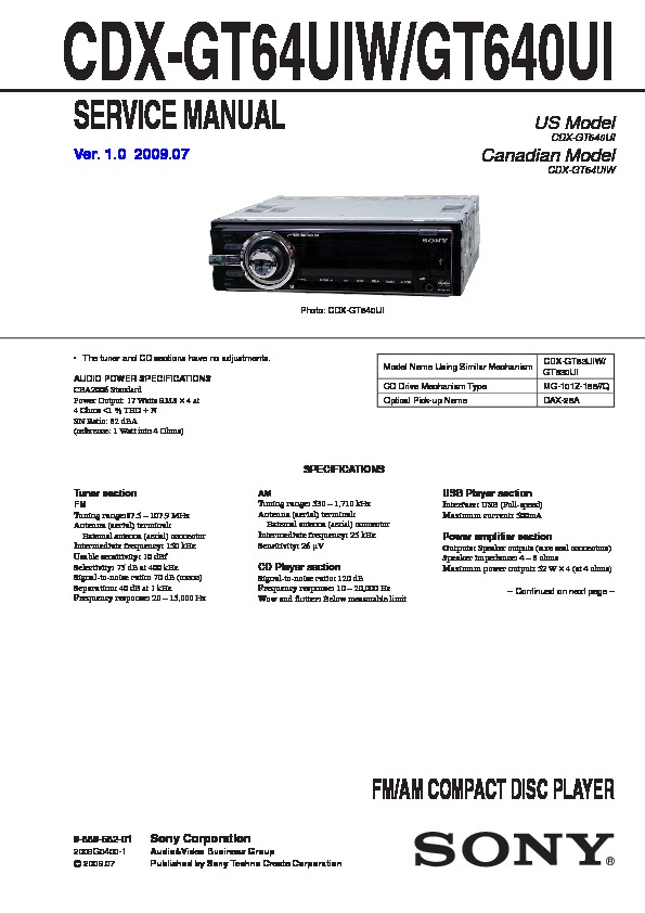 988958201 sony cdx gt640ui, cdx gt647ui service manual free download sony cdx gt640ui wiring diagram at mifinder.co