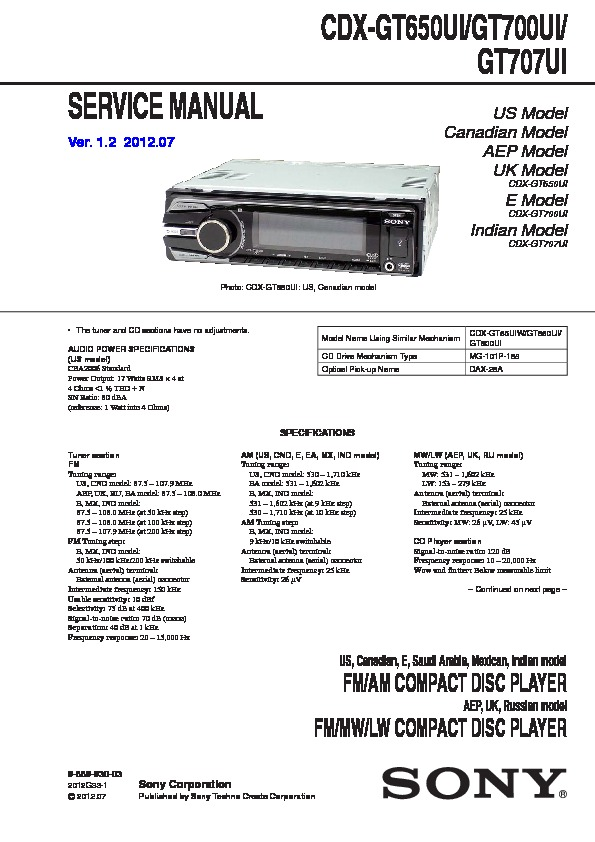 988993003 sony cdx gt650ui, cdx gt700ui, cdx gt707ui service manual free sony cdx-gt700ui wiring diagram at bayanpartner.co