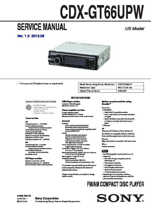 989348601 sony cdx gt66upw service manual free download sony cdx gt66upw wiring diagram at readyjetset.co