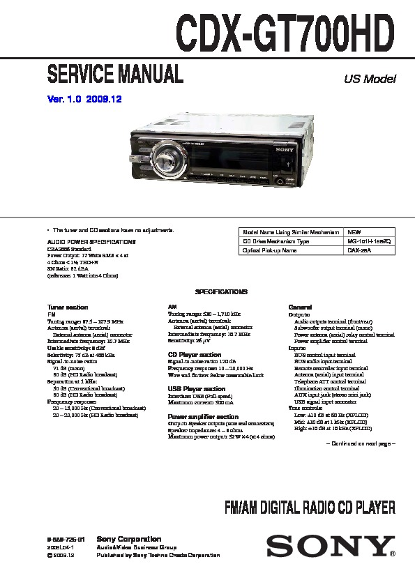 sony cdx gt700hd service manual free download rh servicemanuals us Trailer Wiring Diagram Wire Diagram 240V Hot Tub