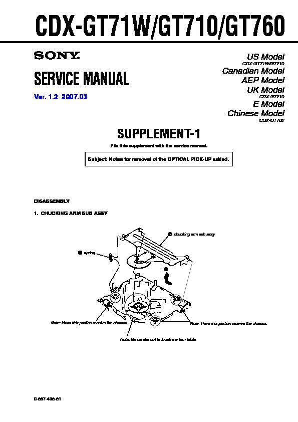 sony cdx-gt710  cdx-gt71w  cdx-gt760 service manual