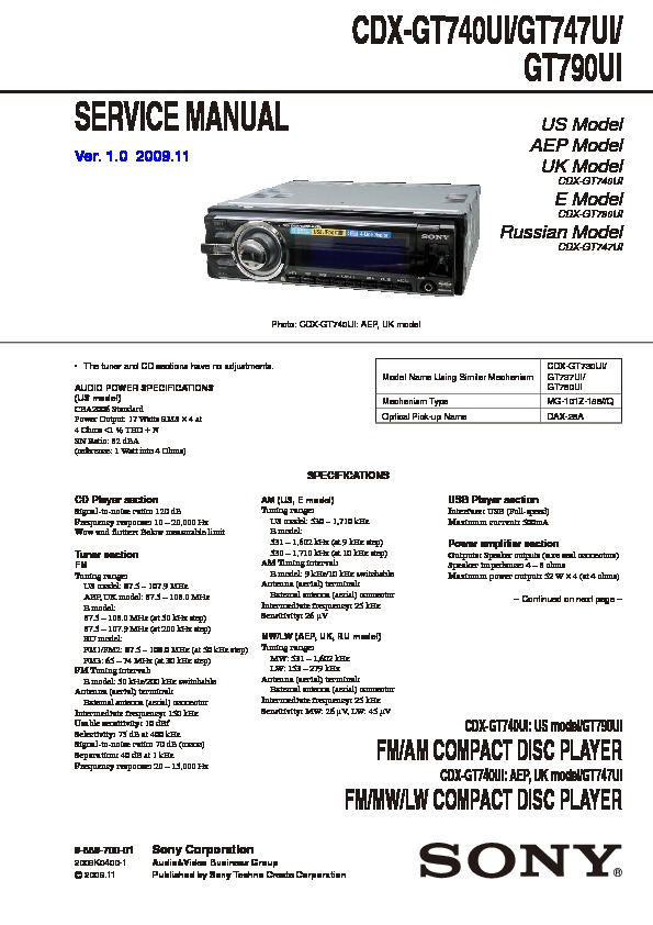 Sony Car Audio Wiring Diagram : Sony cdx gt ui wiring diagram images
