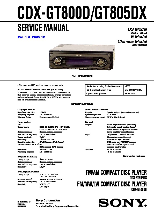 sony cdx gt800d cdx gt805dx service manual free download rh servicemanuals us Sony Car Radio CD Player Sony Car Radio CD Player