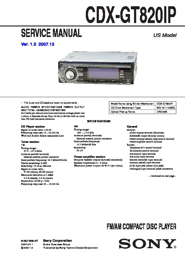 988793501 sony cdx l300 manual mobile cd receiver hifi engine on sony wiring  at alyssarenee.co