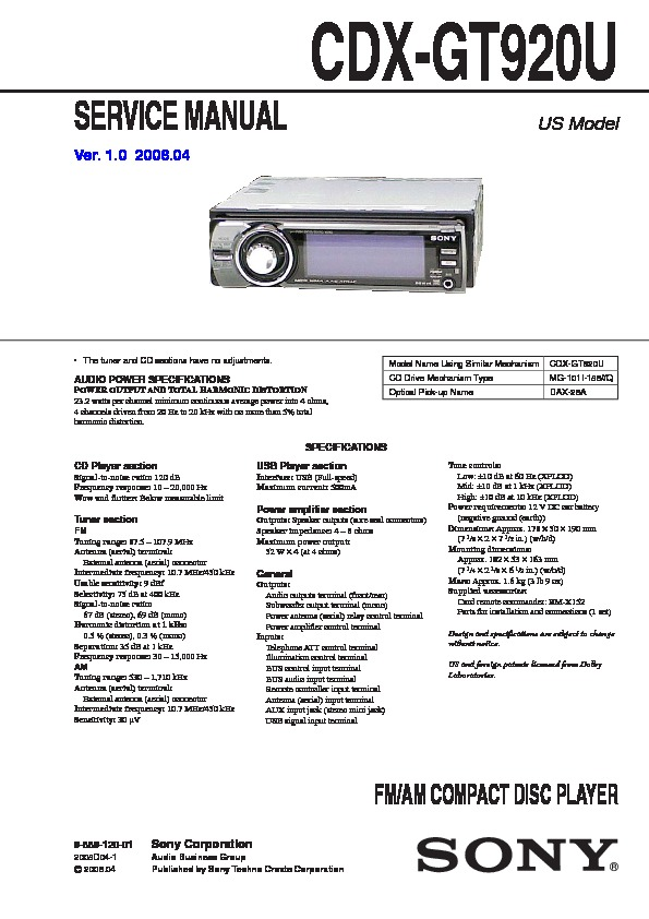 sony cdx gt920u service manual free download sony 45wx4 car audio manual sony 45wx4 car audio manual