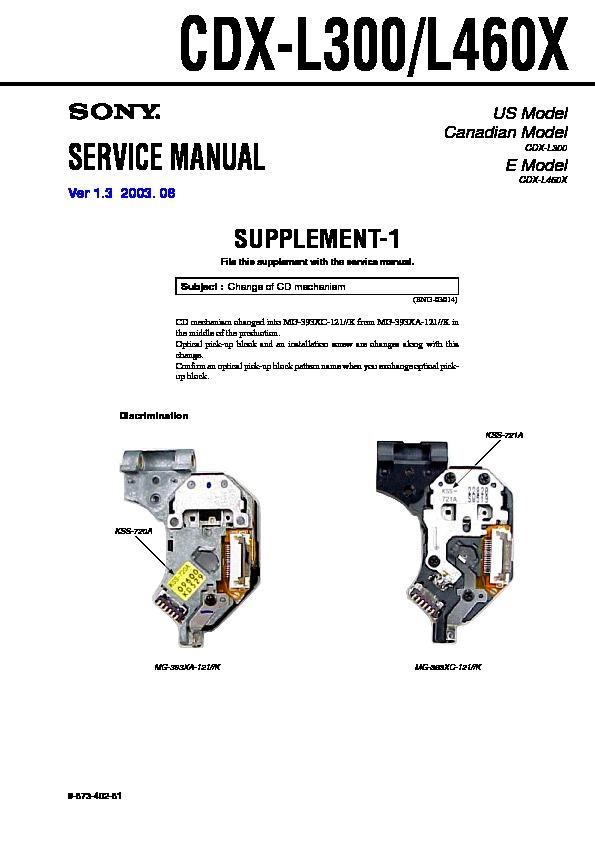 Sony Cdx-l300  Cdx-l460x Service Manual