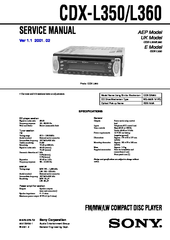sony cdx l350, cdx l360 service manual free download Sony Wiring Harness Colors cdx l350, cdx l360 service manual