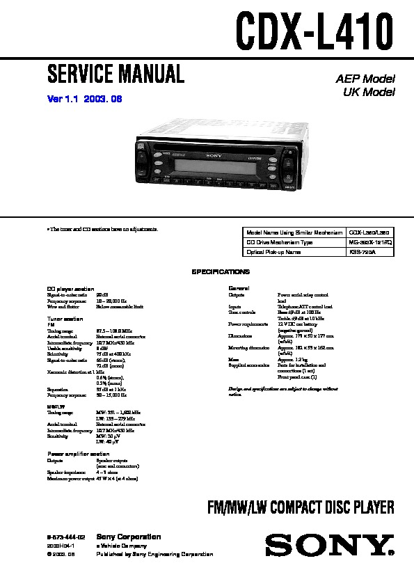 sony cdx l410 service manual free download sony 45wx4 car audio manual Sony Radios Stereo