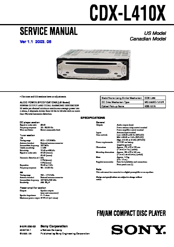 987423002 sony cdx l410 service manual free download sony cdx l410x wiring diagram at mr168.co